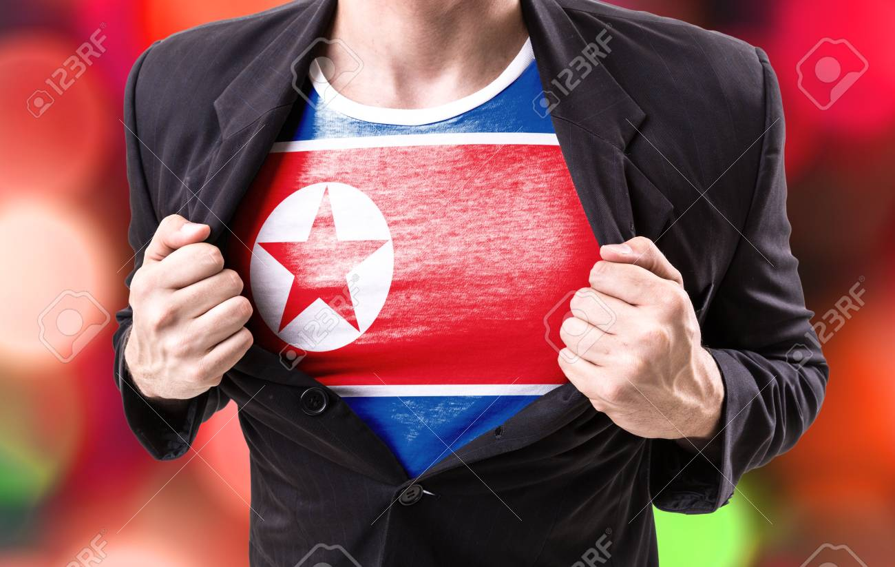 Businessman Stretching Suit With North Korea Flag On Bokeh Background Stock Photo Picture And Royalty Free Image Image 60891358
