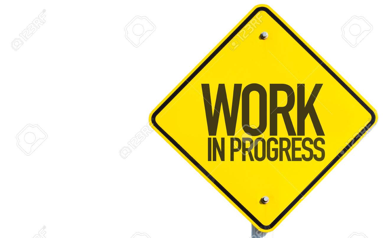 work in progress sign isolated on white background stock photo