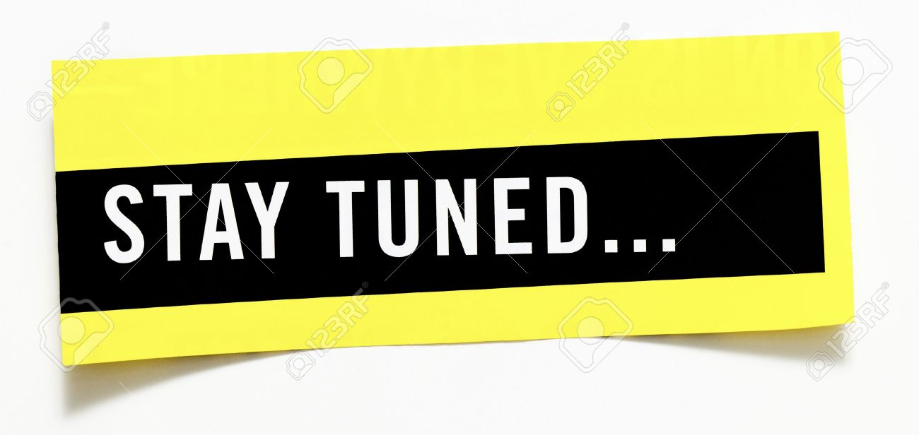 "clipping ""stay tuned"" word on white background stock photo, picture"