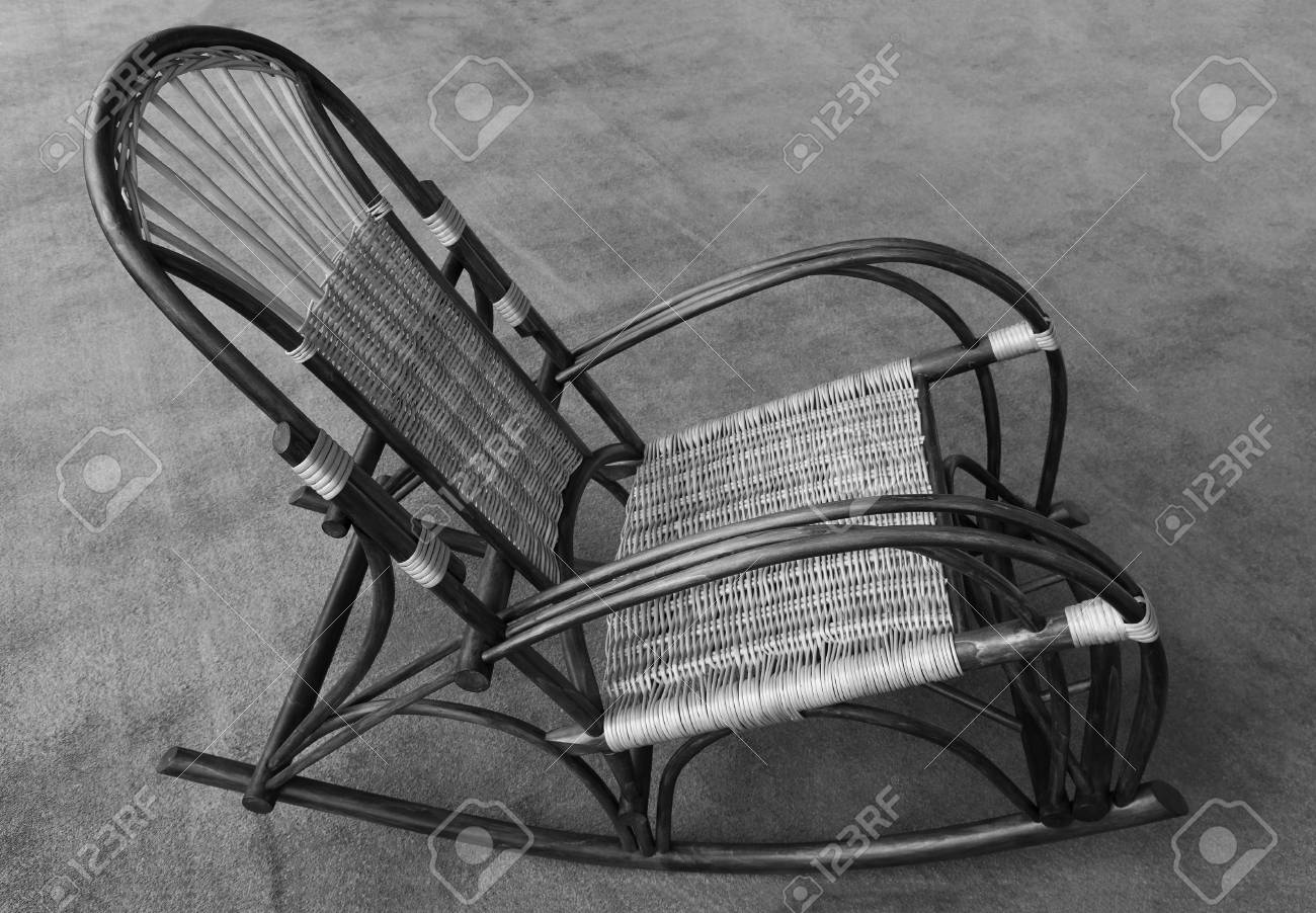 Brilliant Rocking Chair Made From Natural Wood And Wicker Side View Black Spiritservingveterans Wood Chair Design Ideas Spiritservingveteransorg