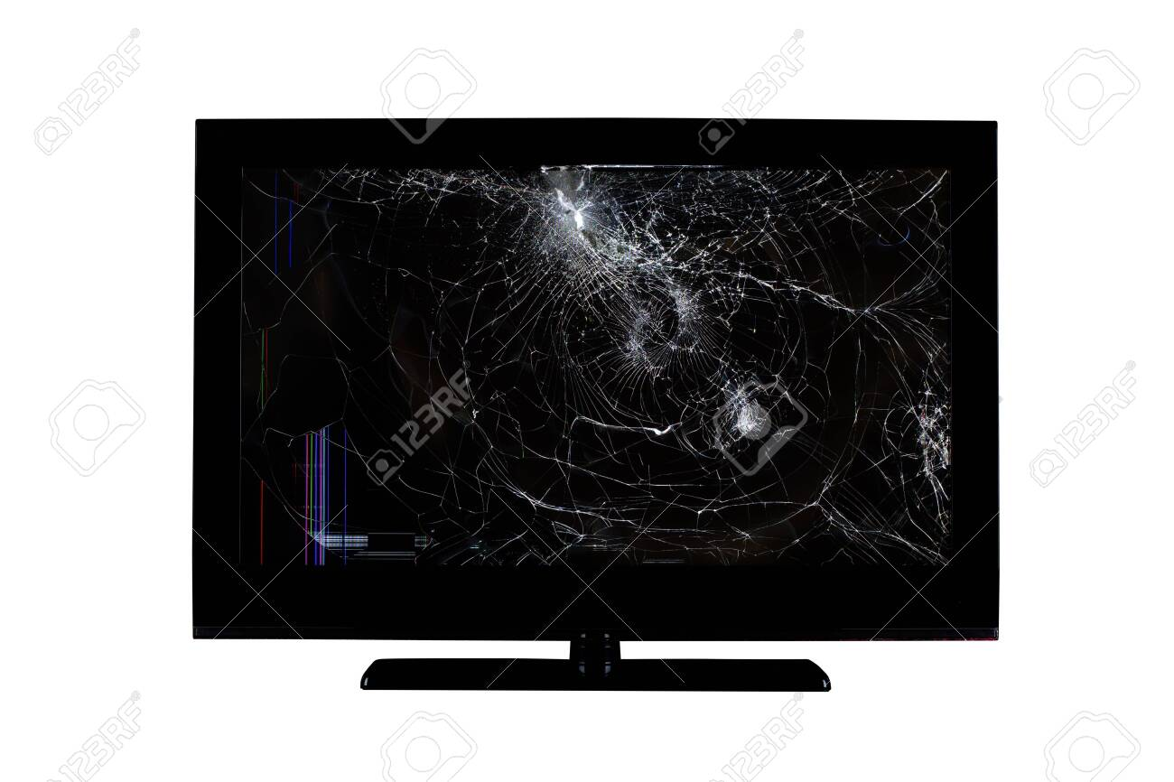 colored stripes and cracks on a broken screen of a liquid crystal display, computer monitor or full hd television isolated on a white background - 131788861