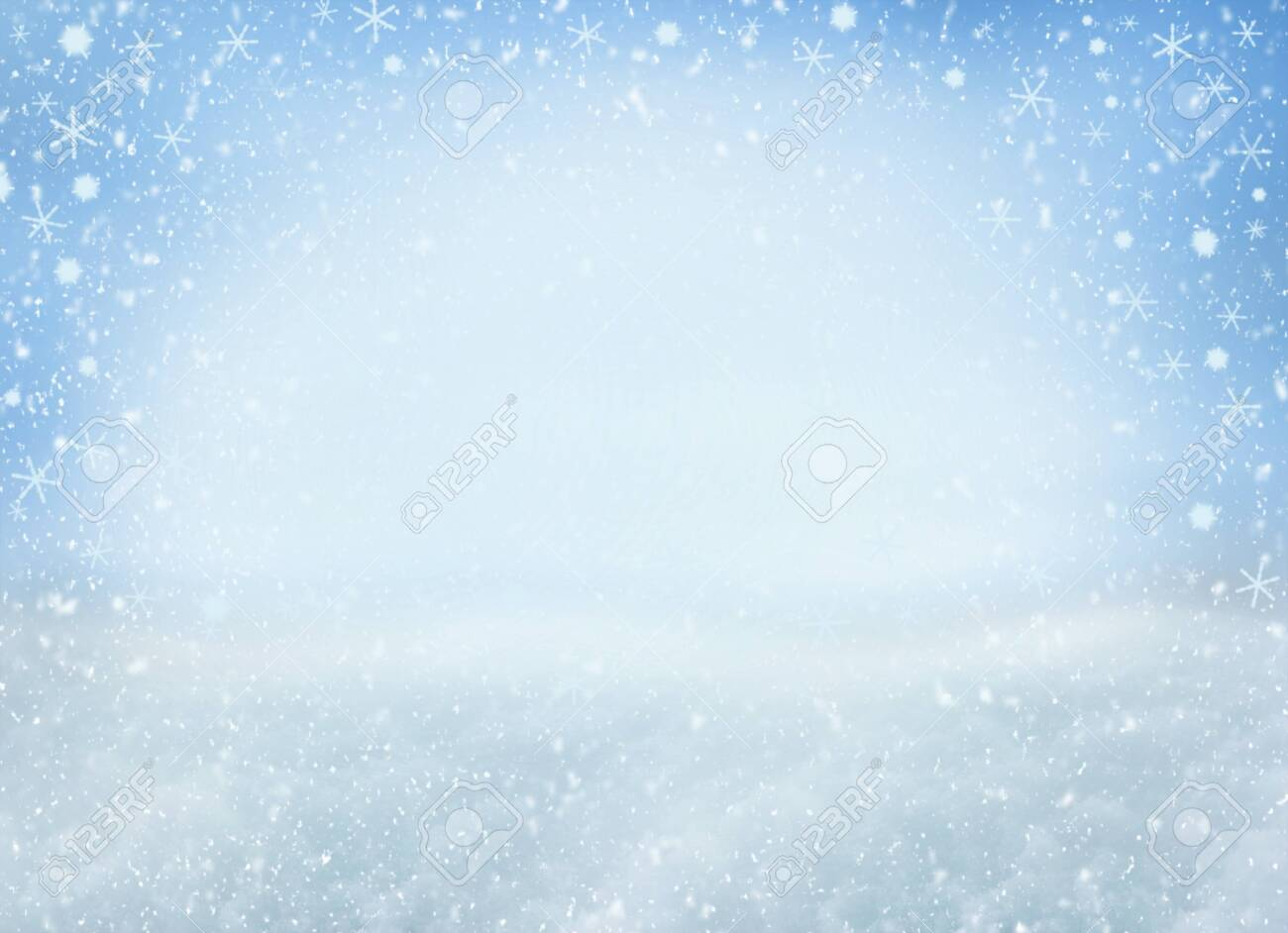 Winter Christmas background with falling snowflakes. Background for design with copy space - 131189083