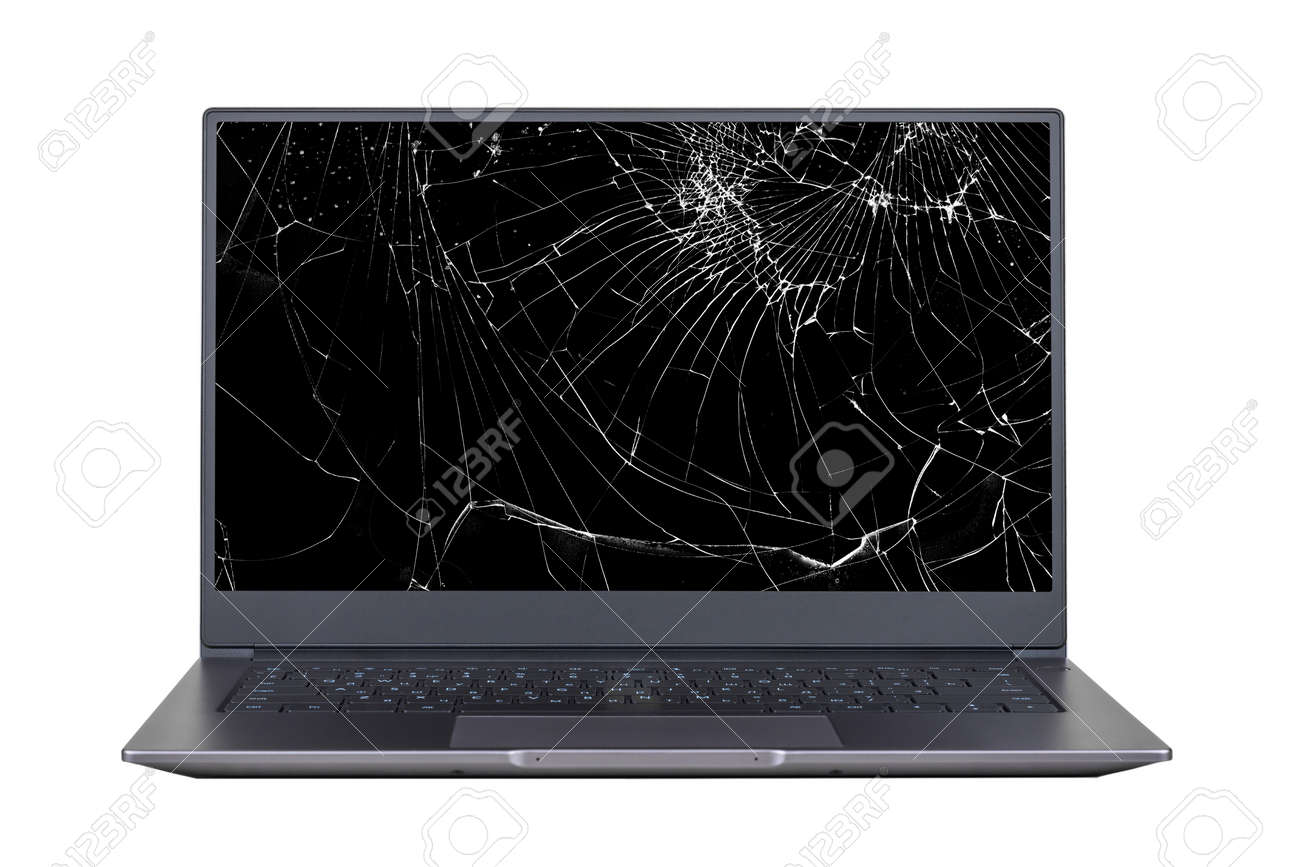laptop with a broken, cracked screen isolated on white background close up front view - 159870912
