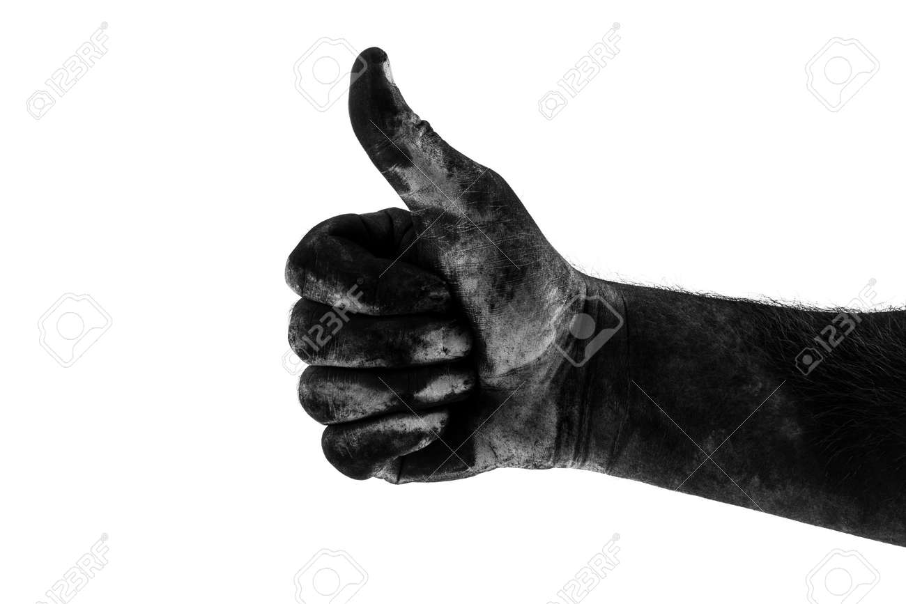 male dirty black hand showing class isolated on white background, black and white photography - 160918953