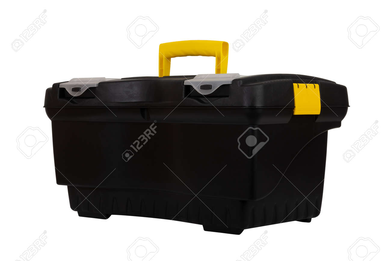 black plastic container tool box isolated on white background closeup - 165440120