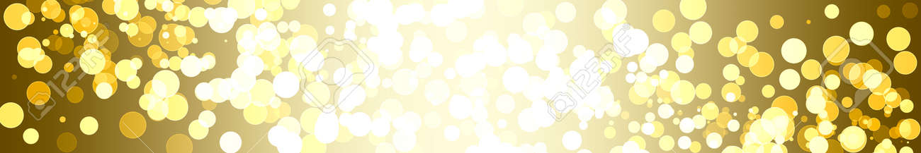 horizontal holiday banner with golden bokeh and illumination for placing information, text - 171940648