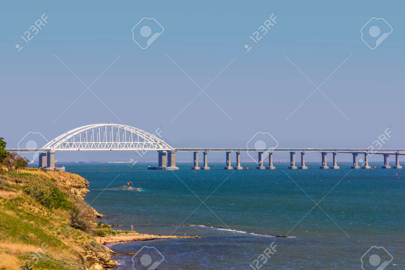 landscape with the black sea coast with a view of the Crimean bridge - 171894804