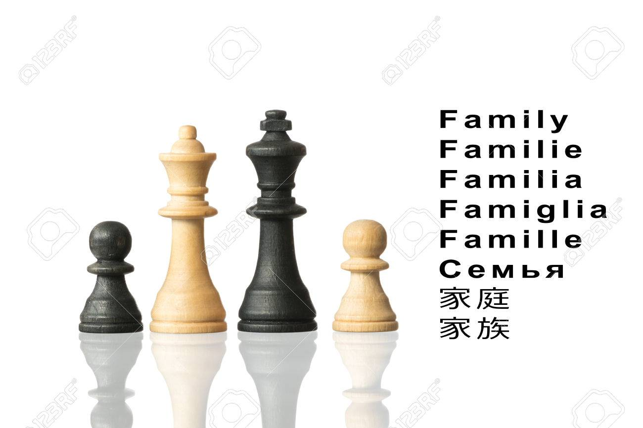 representation of the family with chess pieces and the word family