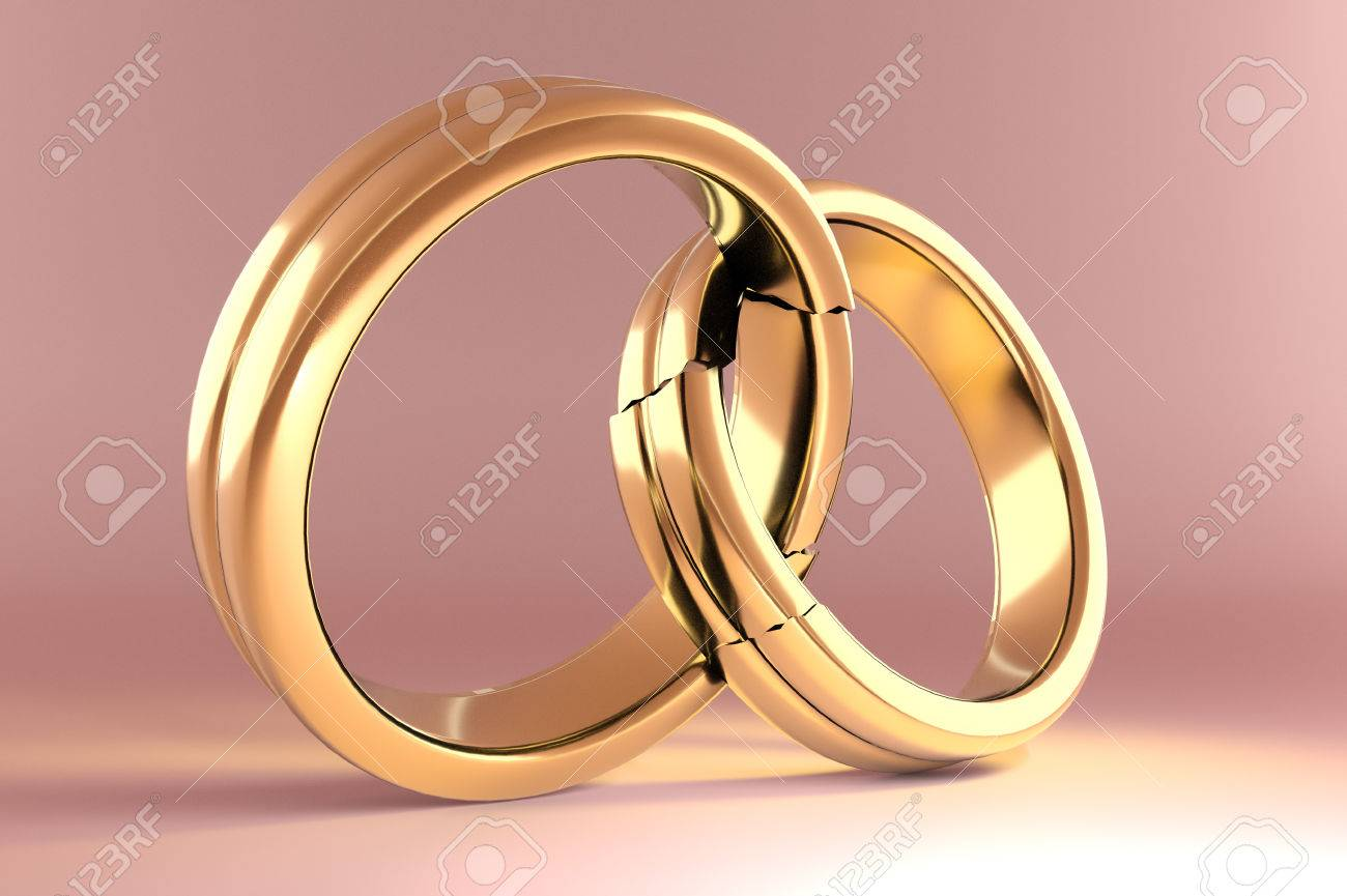 3d Illustration, Wedding Rings Symbolizing The Reunion Between ...