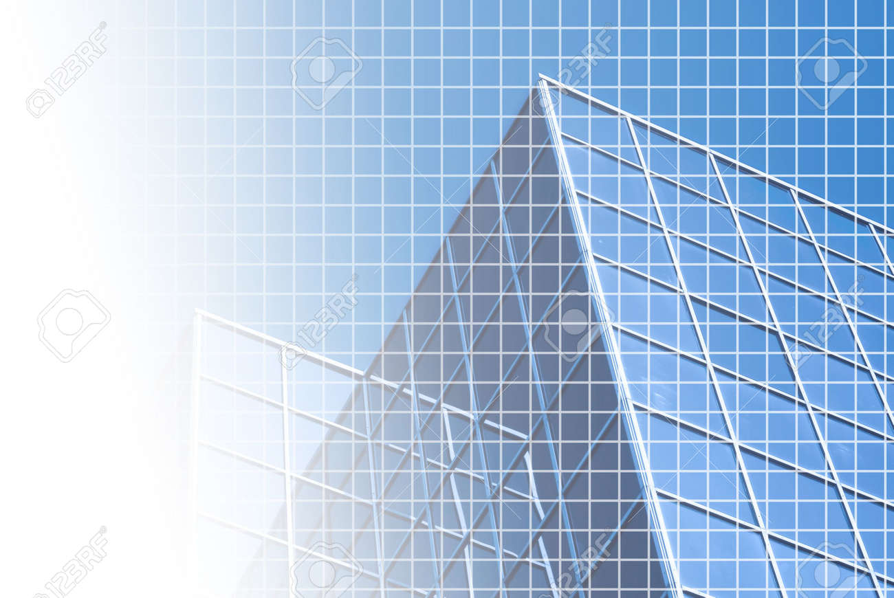 blue white office space. Background Of Blue-tinted Corporate Office Building With Fine White Grid And Space For Text Blue
