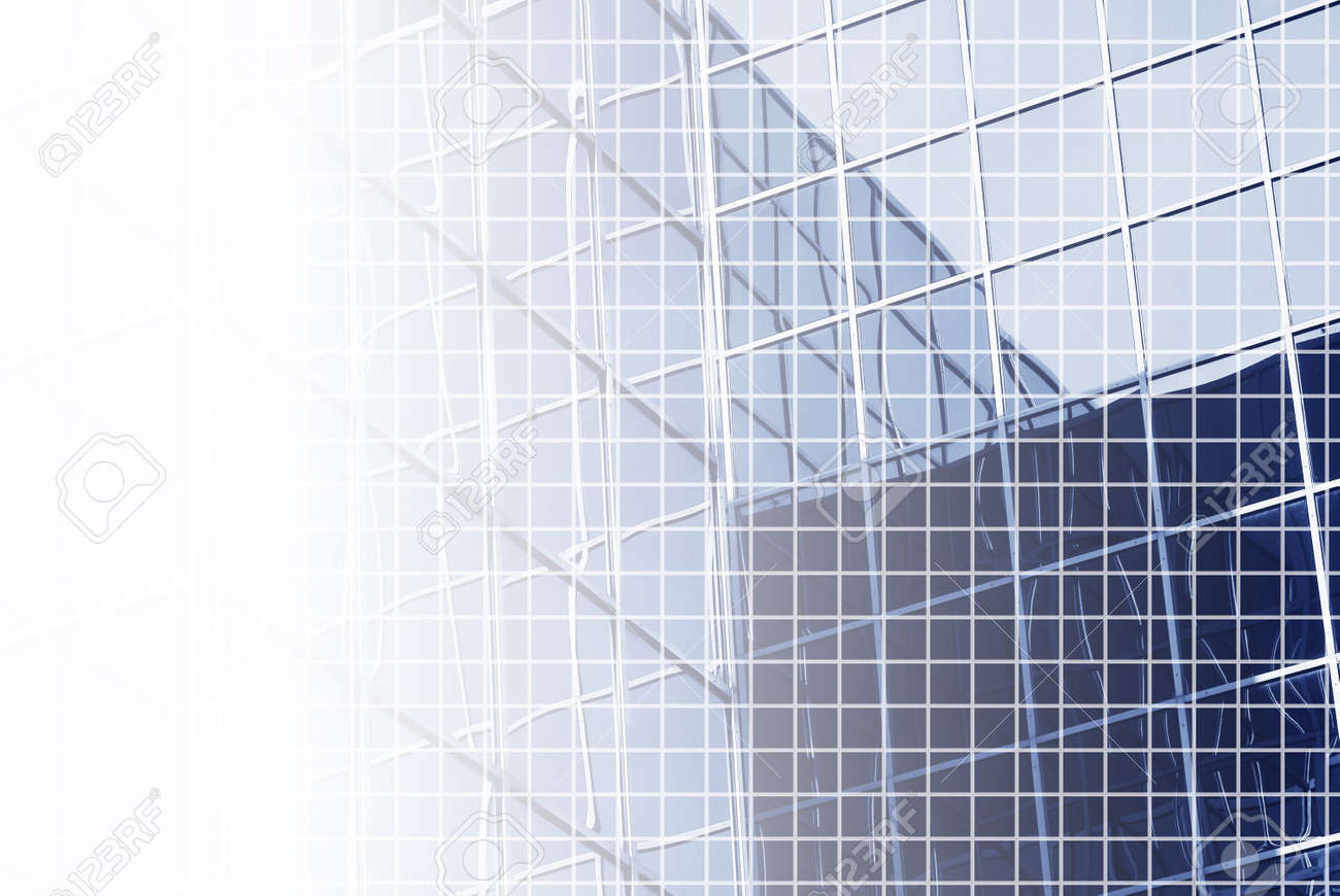blue white office space. blue white office space background of bluetinted corporate building with fine grid and s