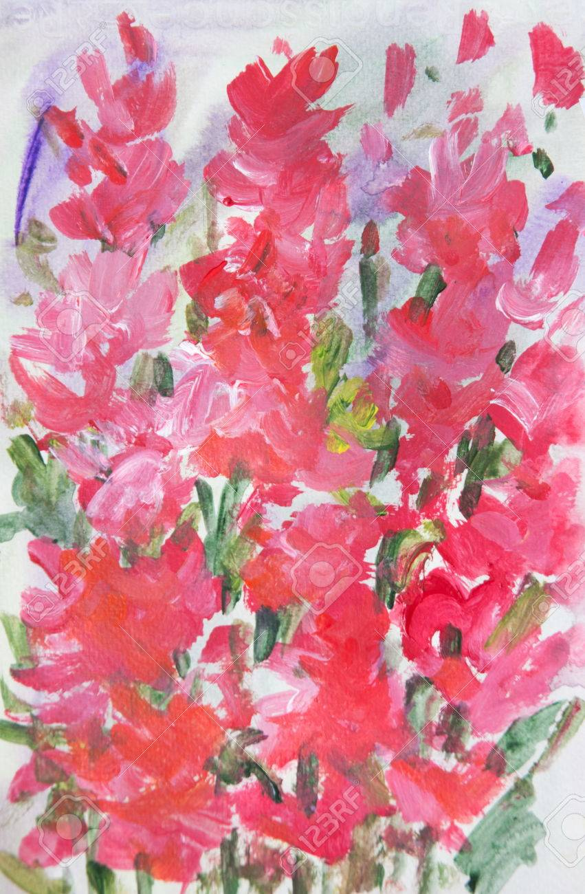 Red Flowers In Garden Acrylic Color Painting In Impressionism Stock Photo Picture And Royalty Free Image Image 63255715
