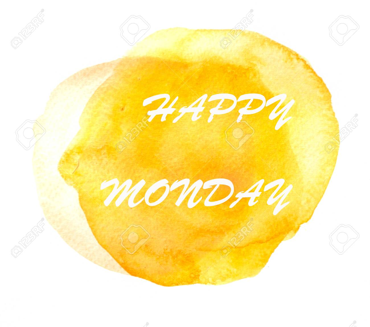 Happy Monday Text On Yellow Watercolor Circle Background Stock Photo
