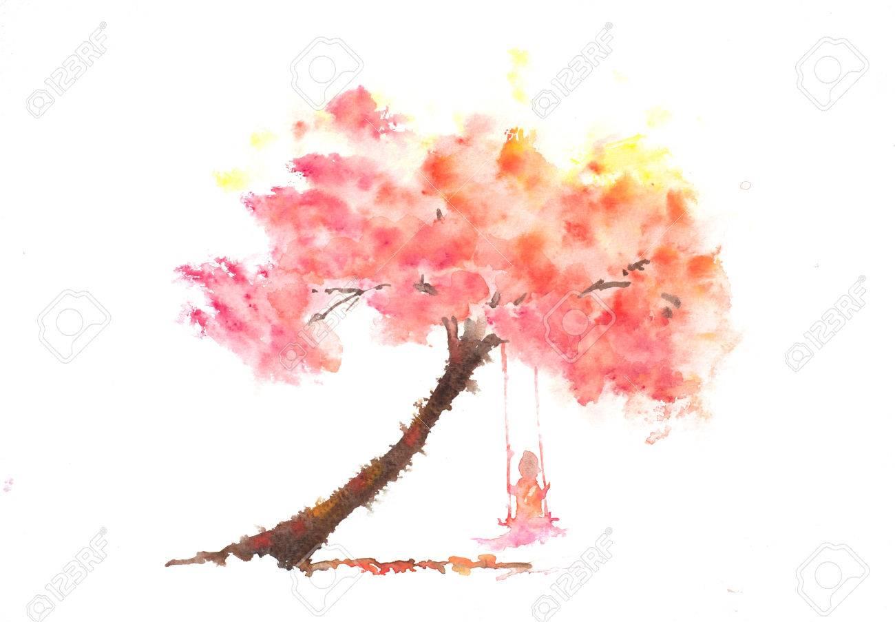 Madchen Auf Schaukel Mit Herbst Baum Aquarell Lizenzfreie Fotos