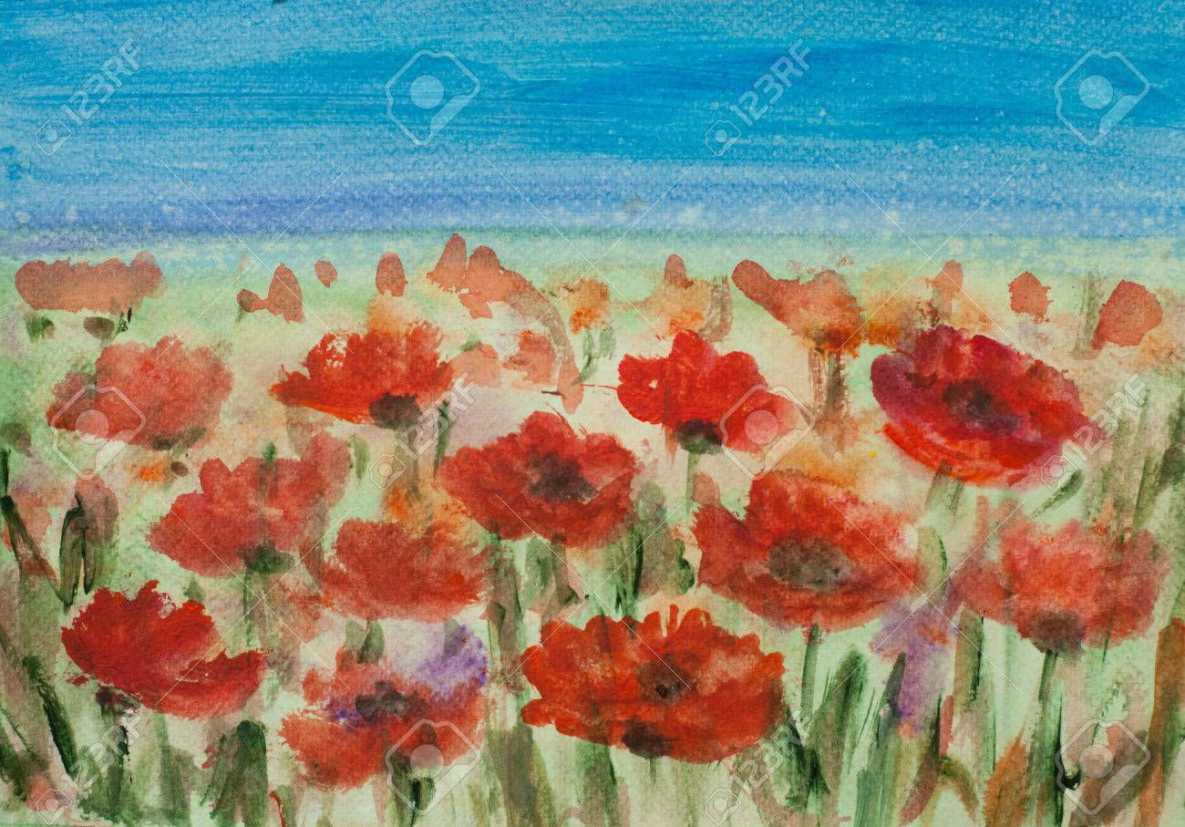 Acrylic Painting Of Red Poppy Field With Blue Sky Landscape Stock