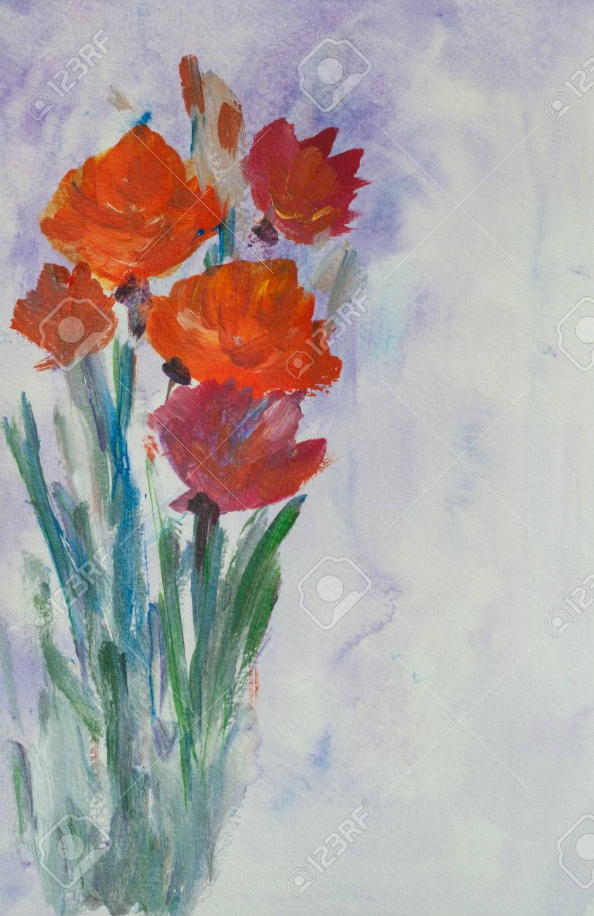 Acrylic Painting Of Red Poppy Flowers Hand Painted Impressionist