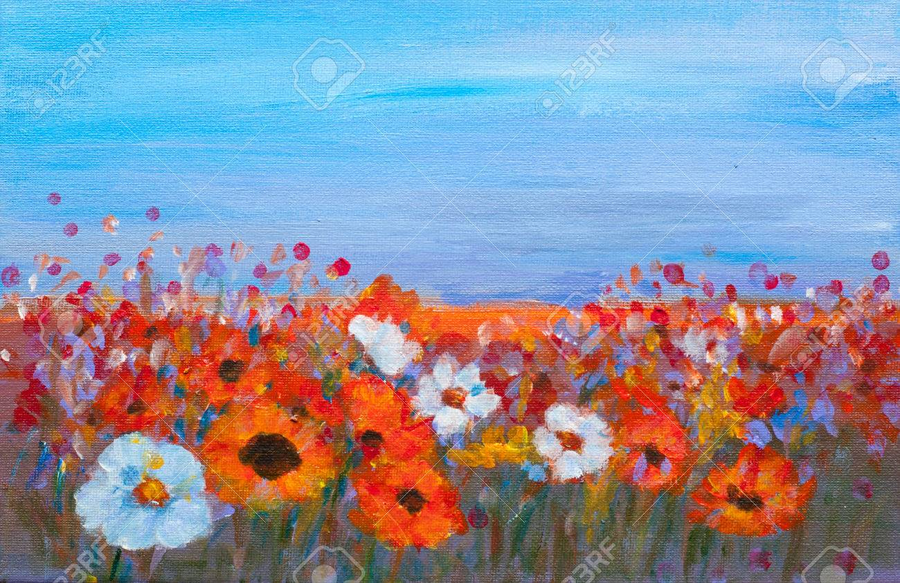 Acrylic painting of colorful wildflower field with blue sky stock acrylic painting of colorful wildflower field with blue sky red yellow orange mightylinksfo