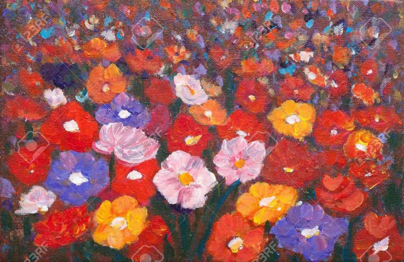 Peinture Acrylique De Couleur Du Champ De Fleurs Sauvages Coloré La Peinture De Paysage Style Impressionniste