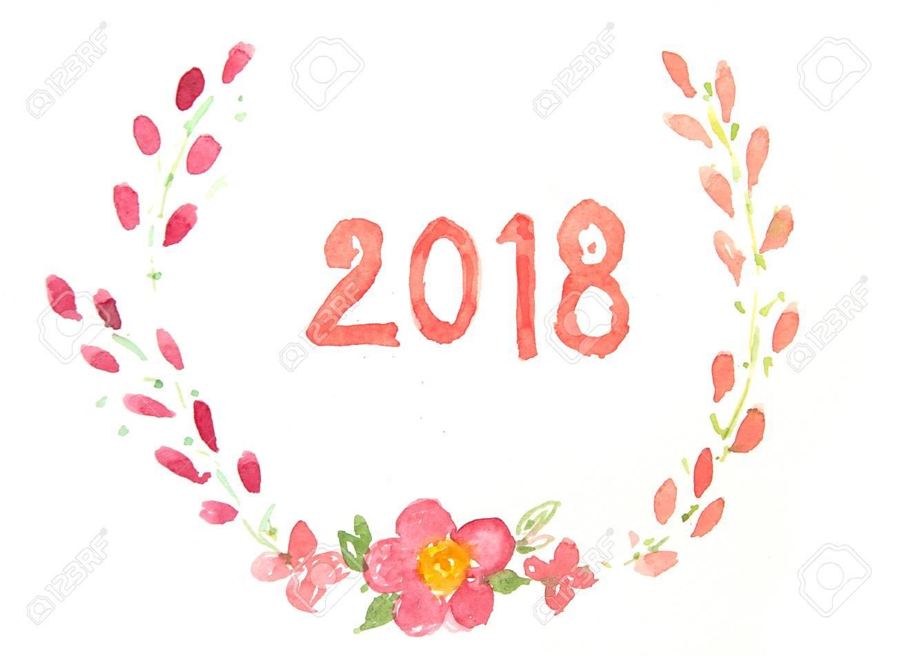 happy new year card watercolor illustrator stock photo 91800947