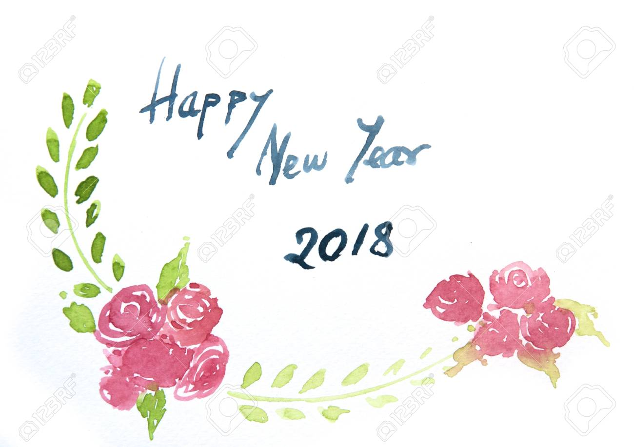 happy new year card watercolor illustrator stock photo 91800949