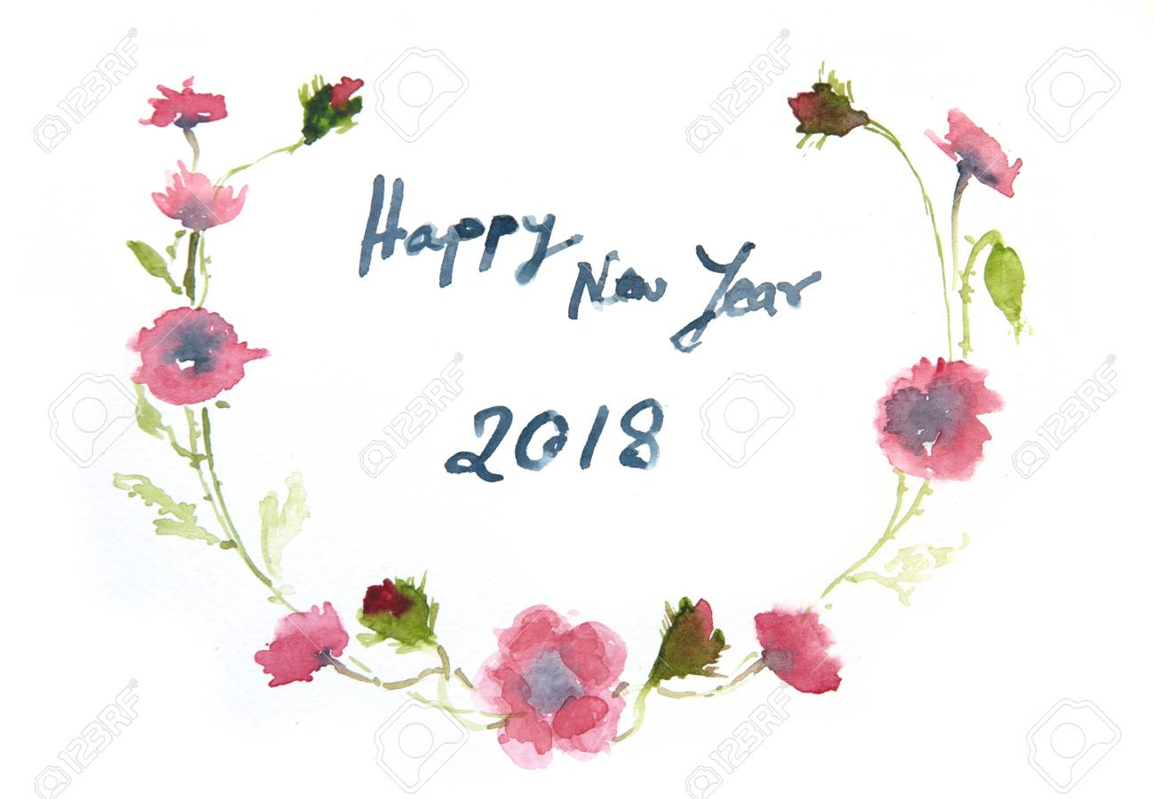 happy new year card watercolor illustrator stock photo 91800950