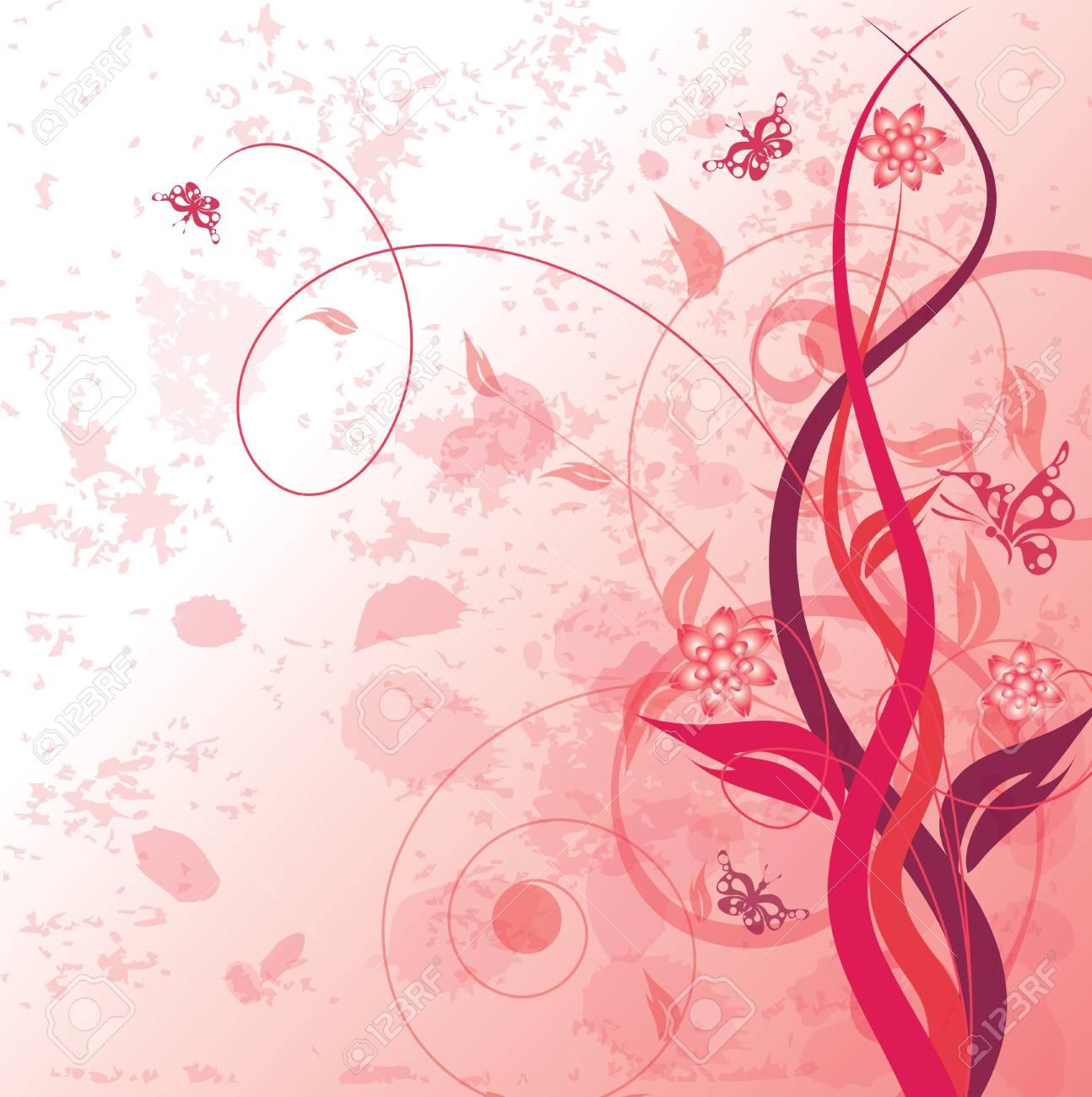 Decorative floral on grunge background, vector illustration Stock Photo - 3610816
