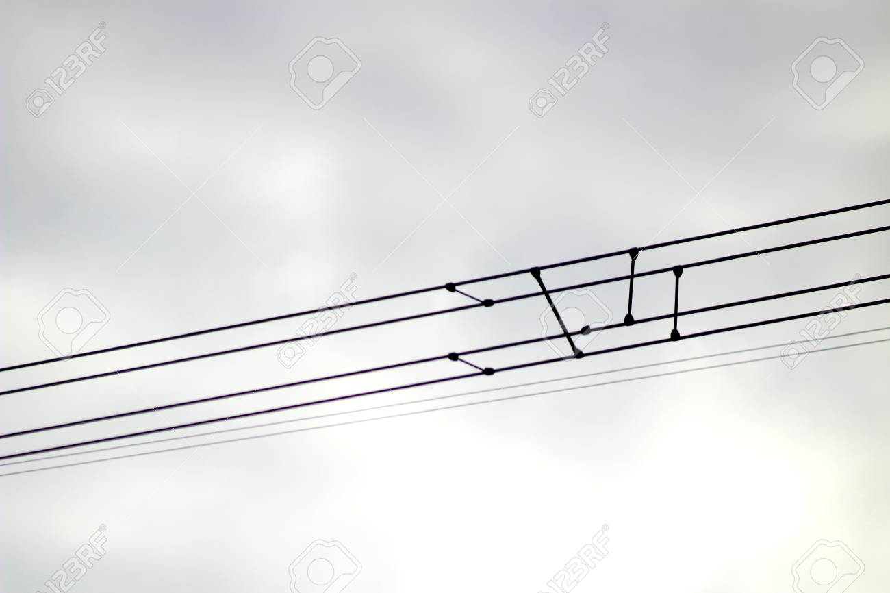 On the photo there are electrical supports, 330 kV power transmission