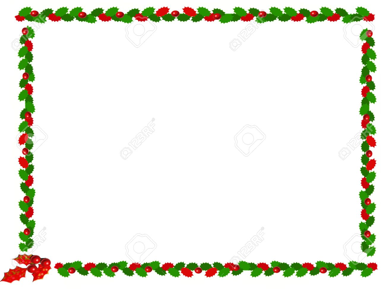 Holly Christmas Border Stock Photo, Picture And Royalty Free Image ...