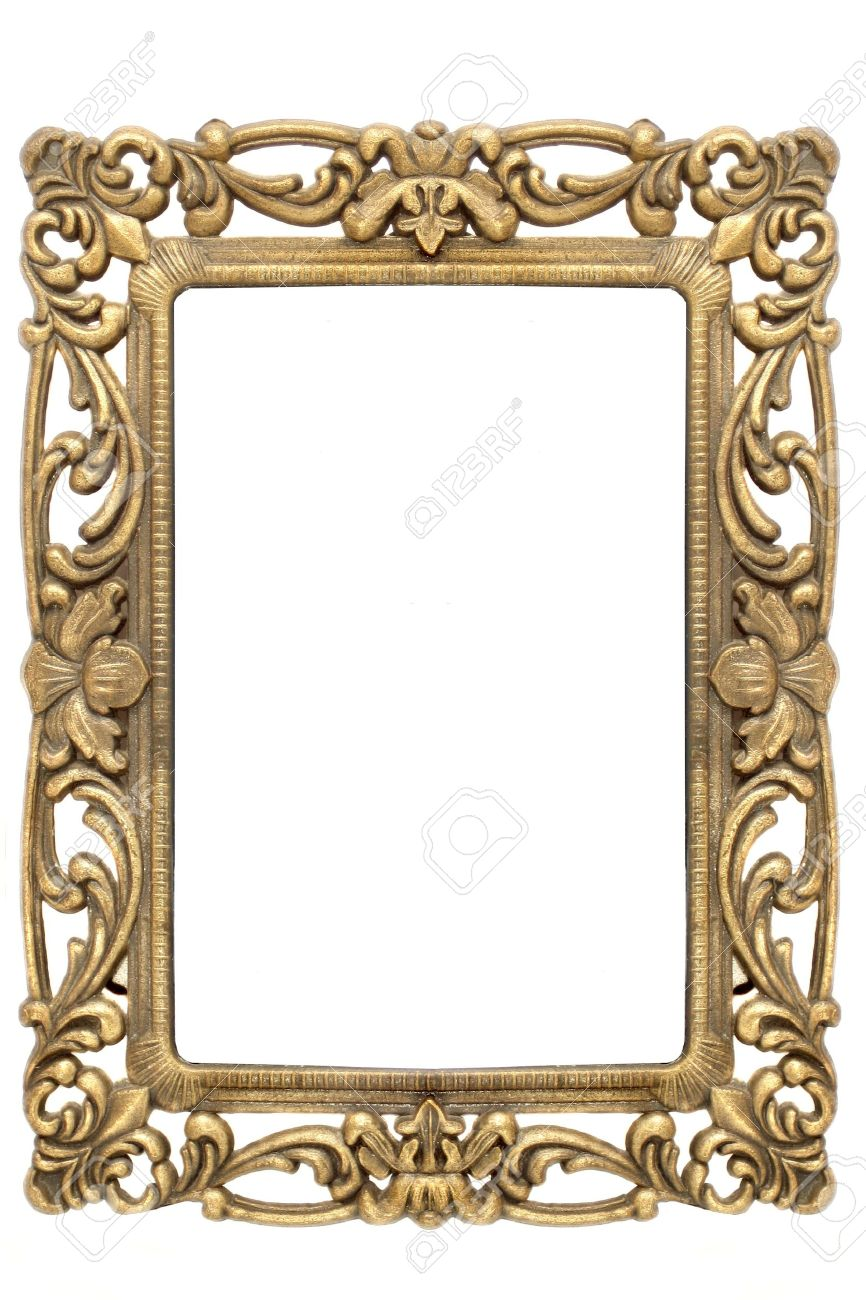 stock photo gold frame with intricate ornate gold designs