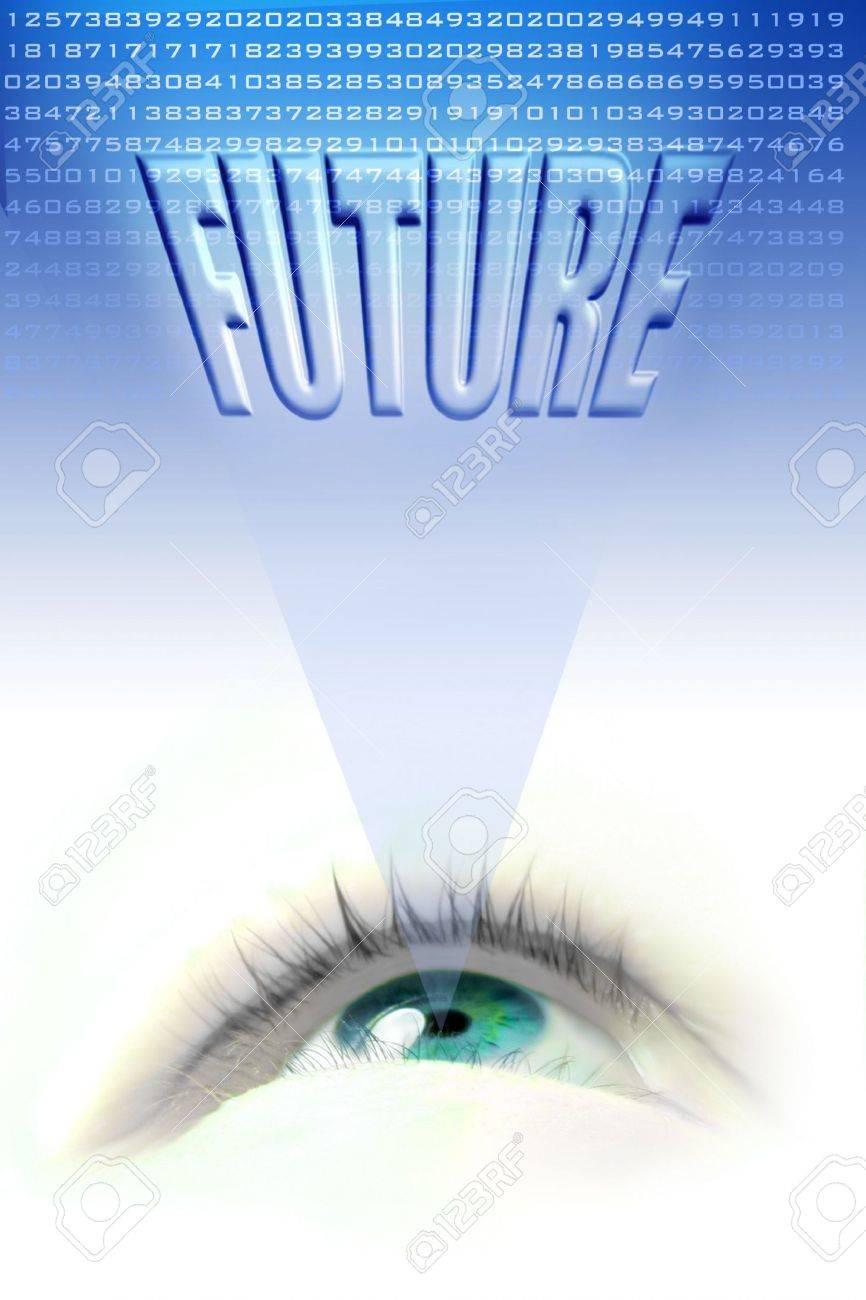 floating blue eye illustration projecting the future Stock Illustration - 650255