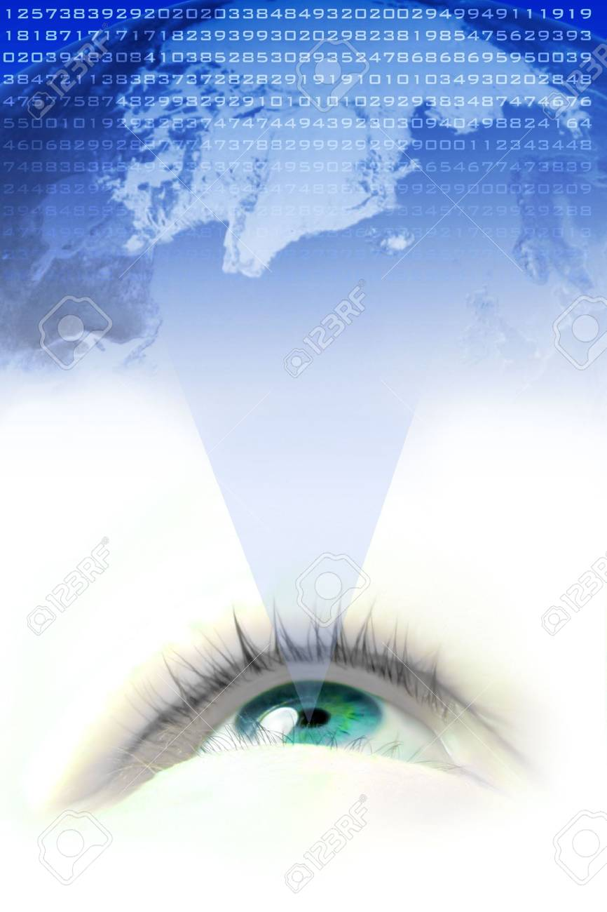 floating  blue eye projecting the world and it's numbers Stock Photo - 659627