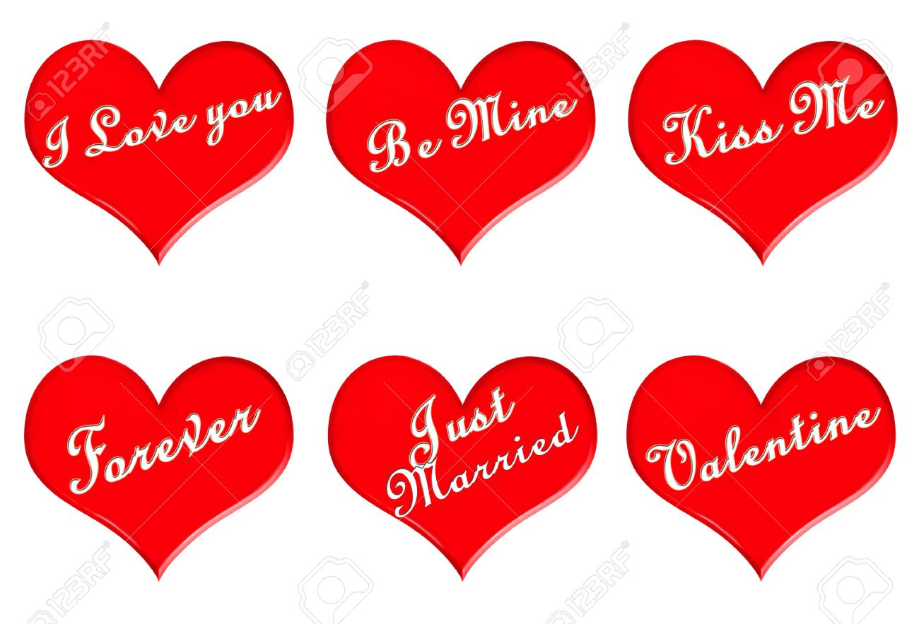 Aisladas De Color Rojo Con Corazones De San Valentín Mensajes