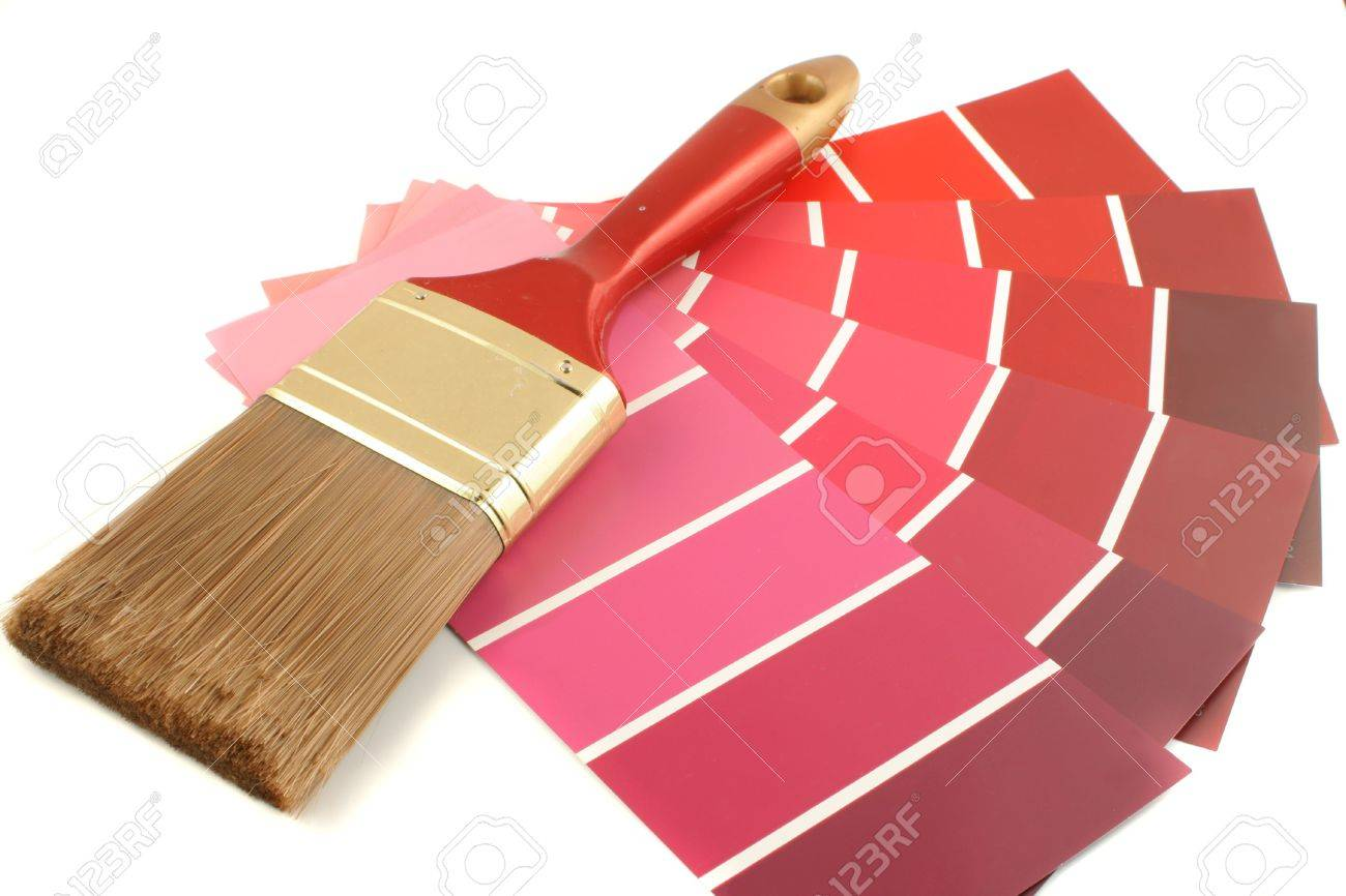 red shade paint swatches, and small roller brush for home