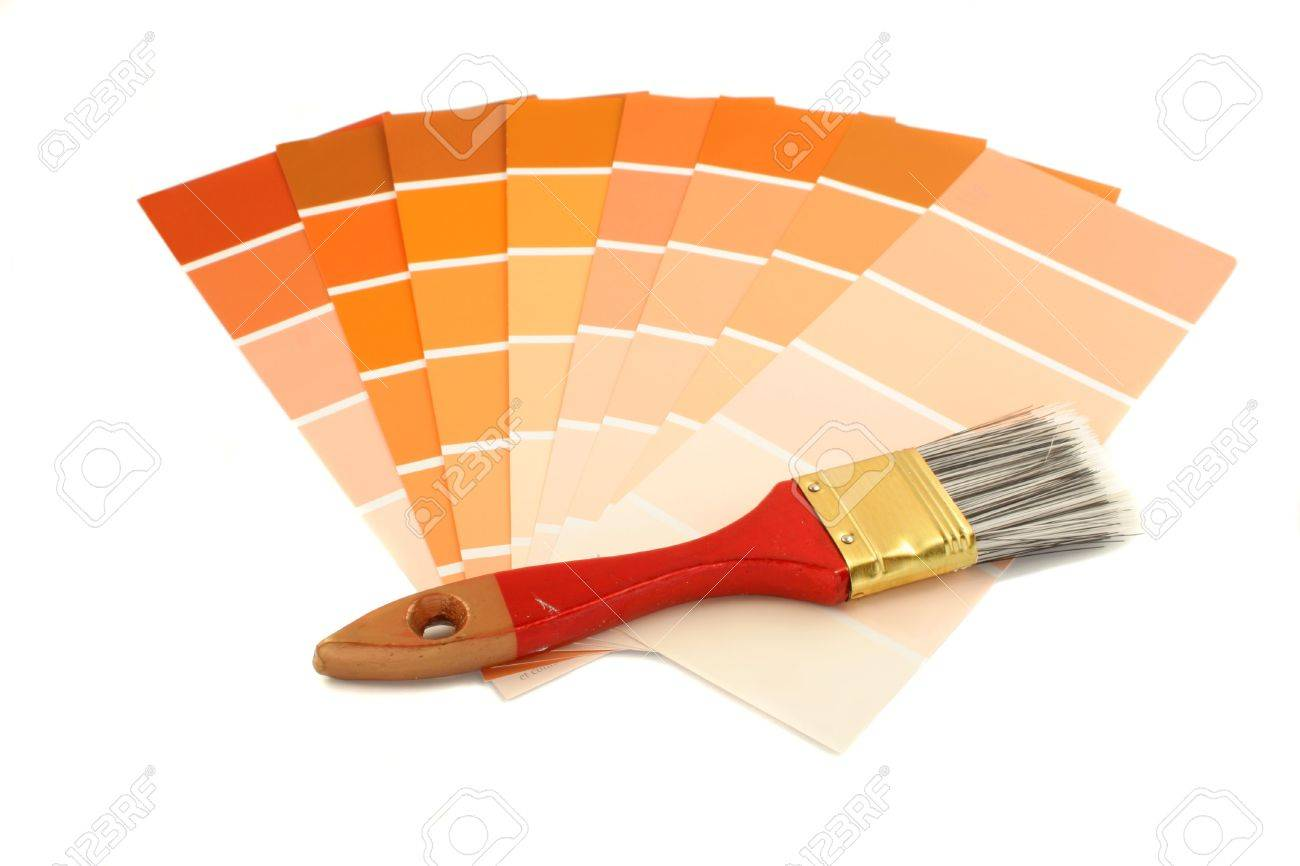 Rusty And Orange Shade Paint Swatches Small Brush For Home Decorating Stock Photo