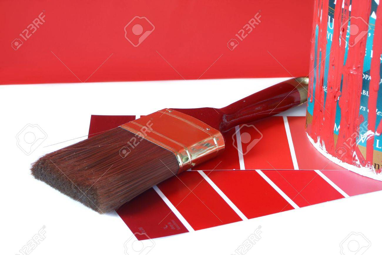 paint swatches, and paintbrush and red paint can for home