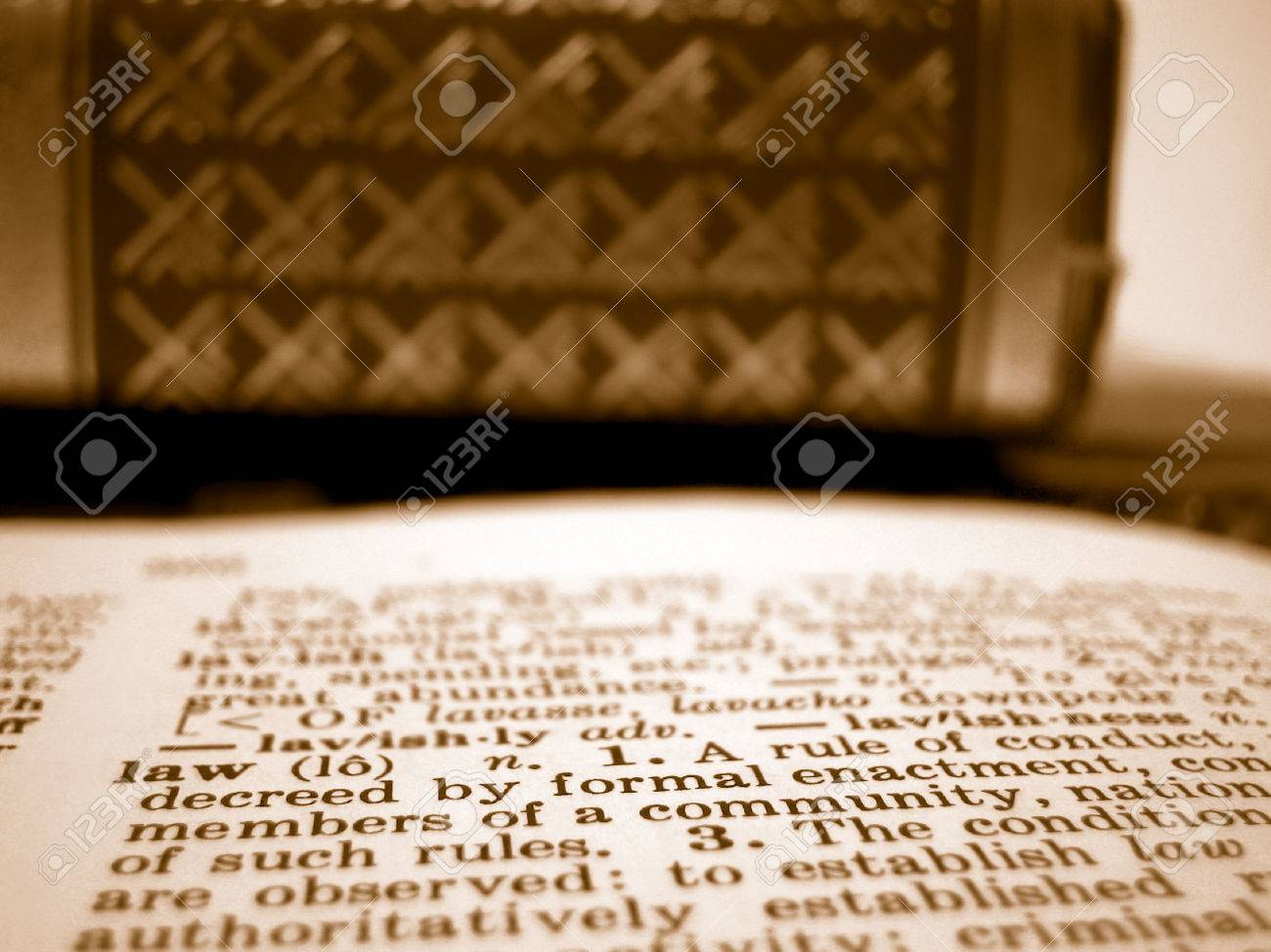 Shallow depth of field description of law and law textbooks Stock Photo - 1615299