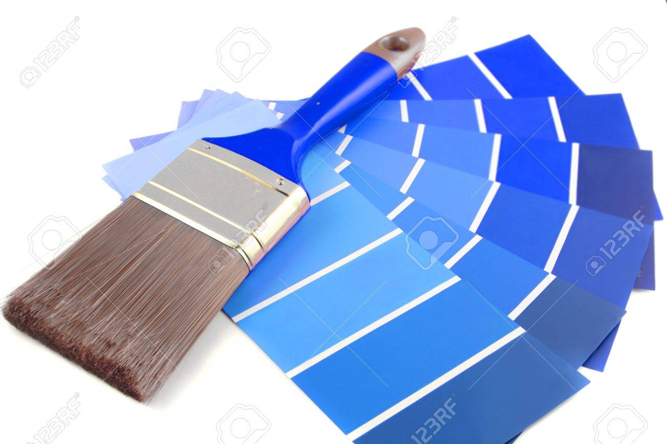 Blue Paint Swatches blue shade paint swatches, and small roller brush for home