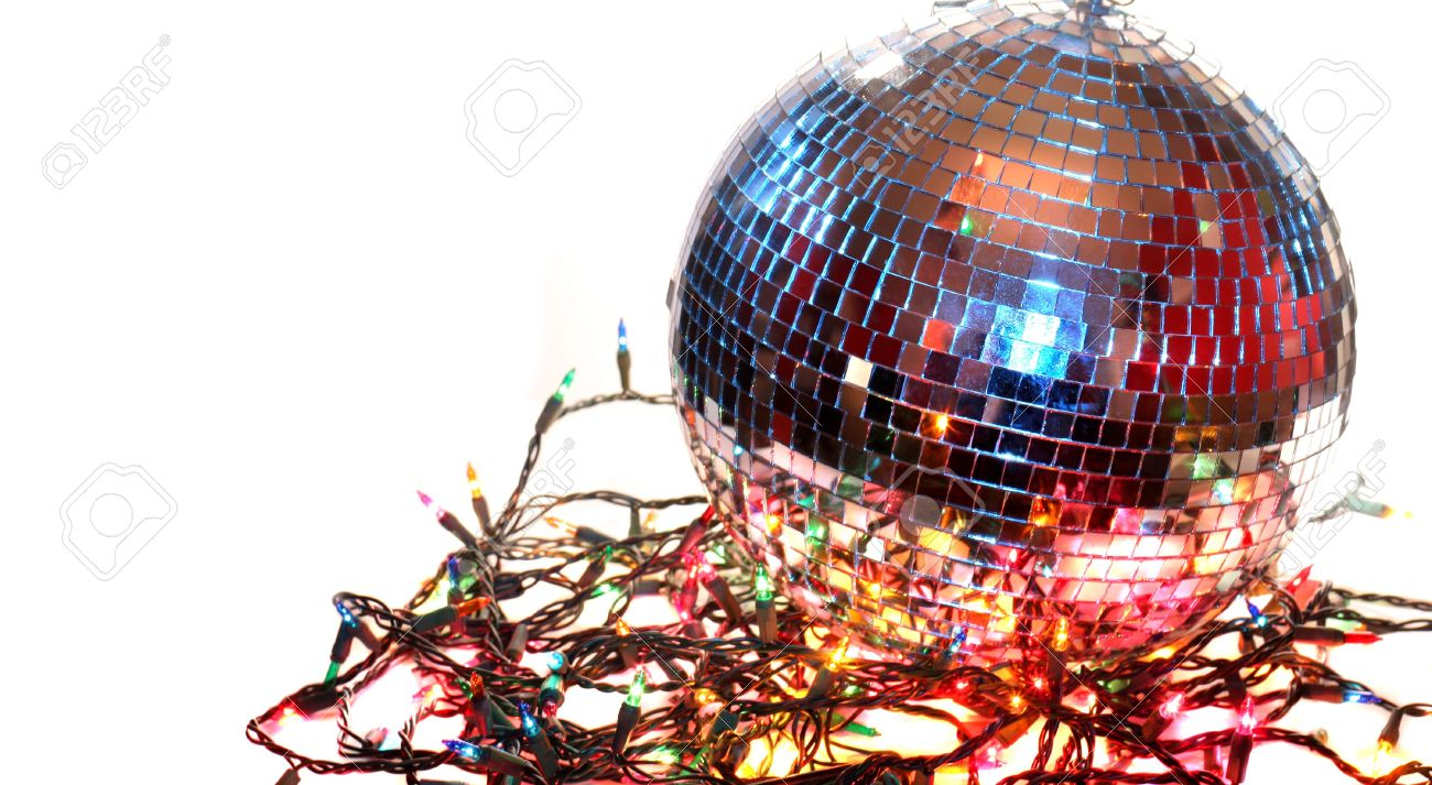 Christmas Disco Ball.Colorful Disco Ball On White Background With Christmas Lights