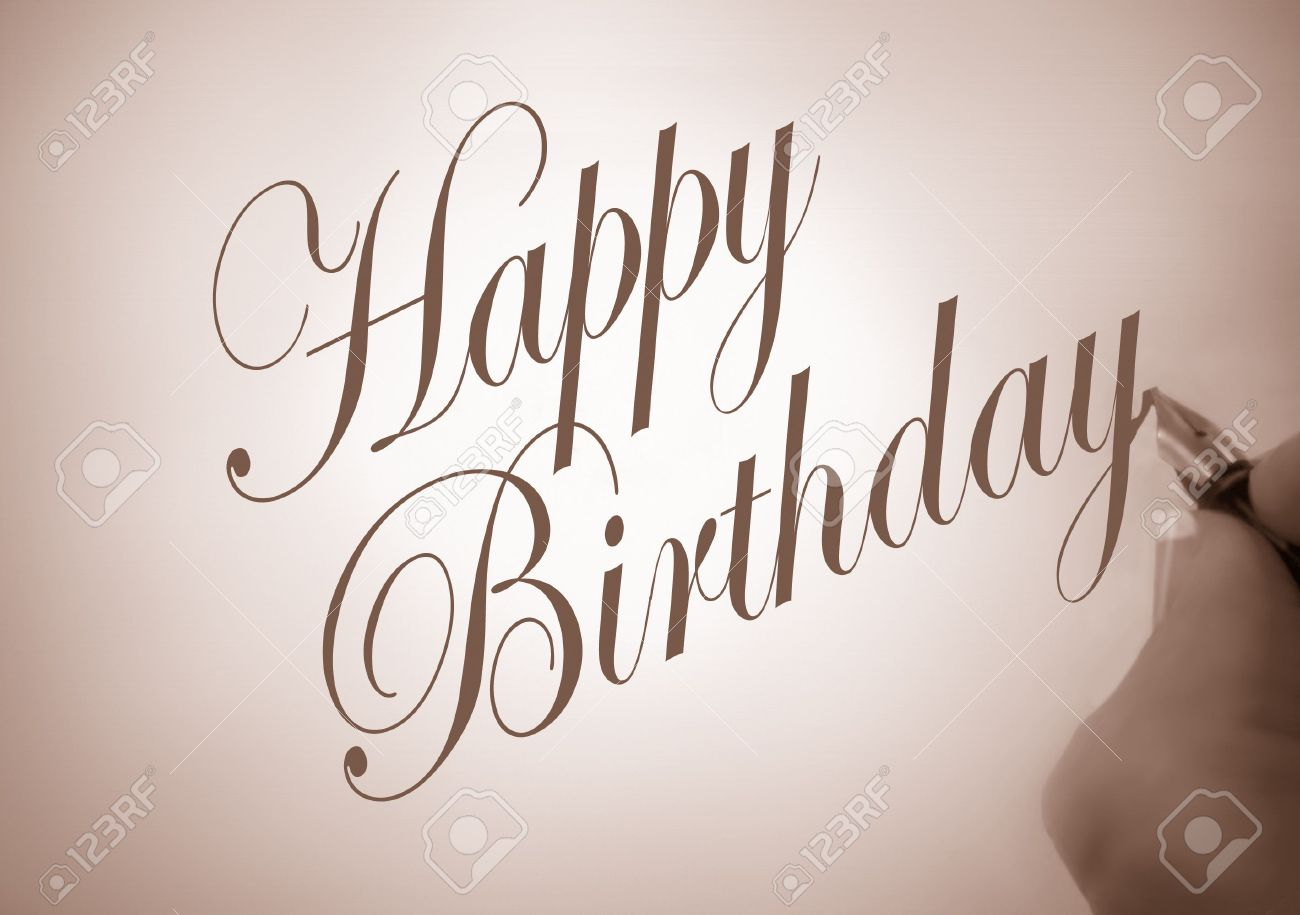 Happy Birthday Fonts ~ Illustration of person writing happy birthday in calligraphy.. stock