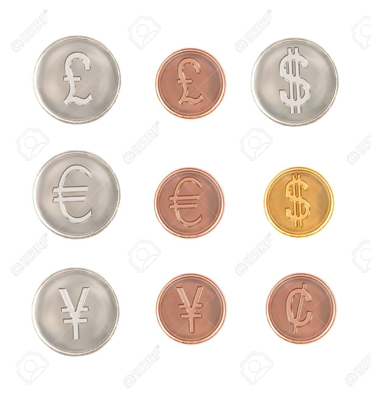 Currencies From Around The World Coins With The Symbol Of The