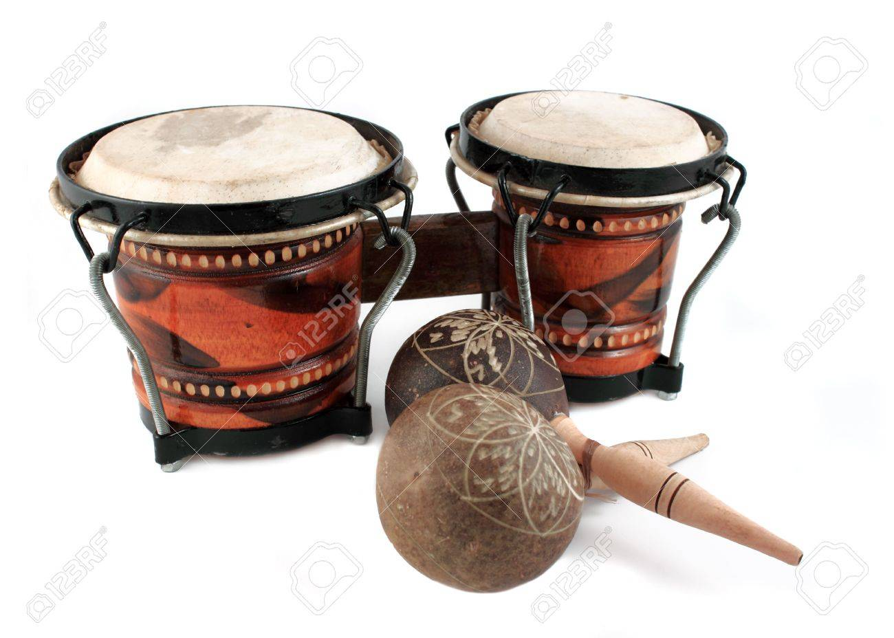 rhythm percussion instruments like maracas and bongo drums on