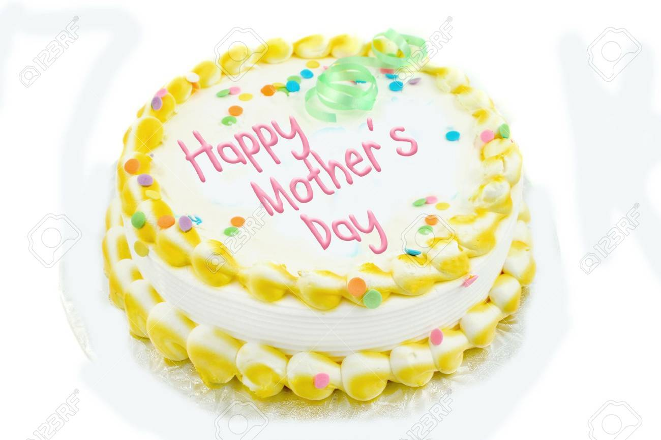 Happy Mothers Day Cake In Yellow And White Frosted Decorations Stock Photo 5098130