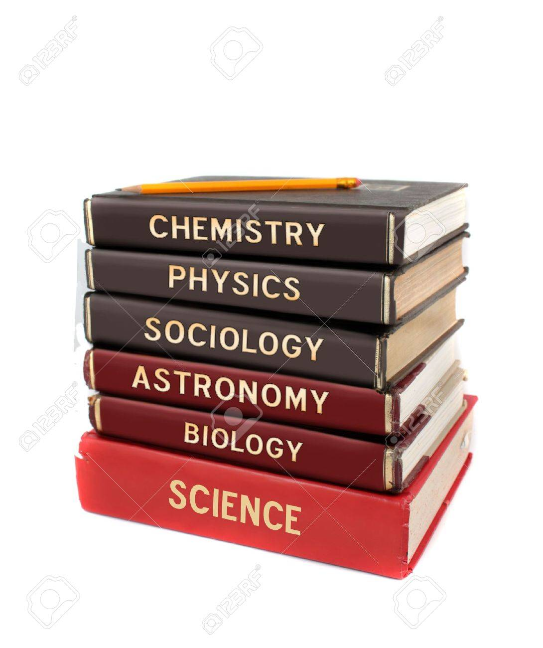 Tall stack of different university level science textbooks like