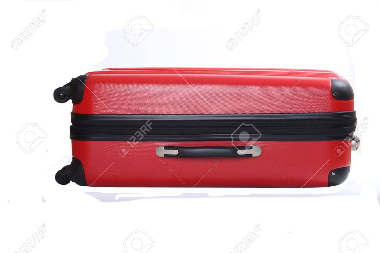 Four Wheeled Hard Shell Red Suitcase Stock Photo, Picture And ...