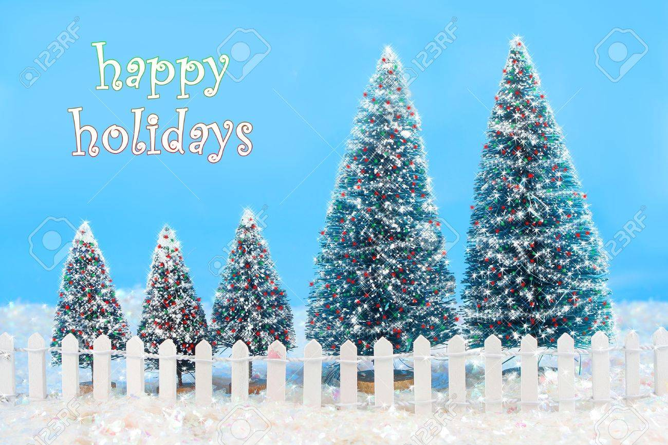 Christmas Card Saying Happy Holidays With A Winter Scene In Colorful ...