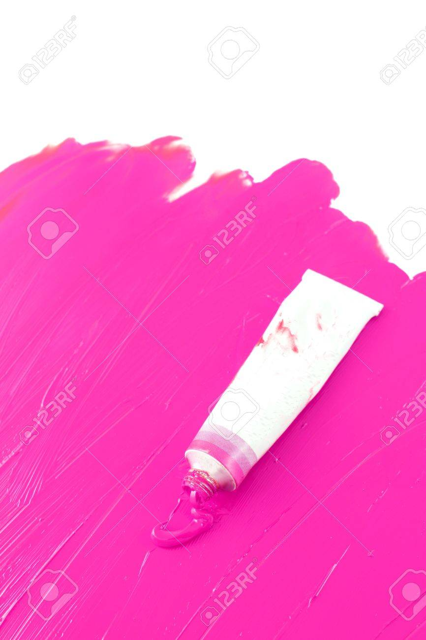 Bright Pink Paint Hot Pink Color Of Artists Oil Paint Spilling Out Into A Smudged