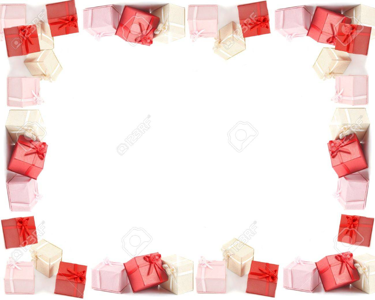 Different Colored Boxed Presents With Bows, Good For Frames,.. Stock ...