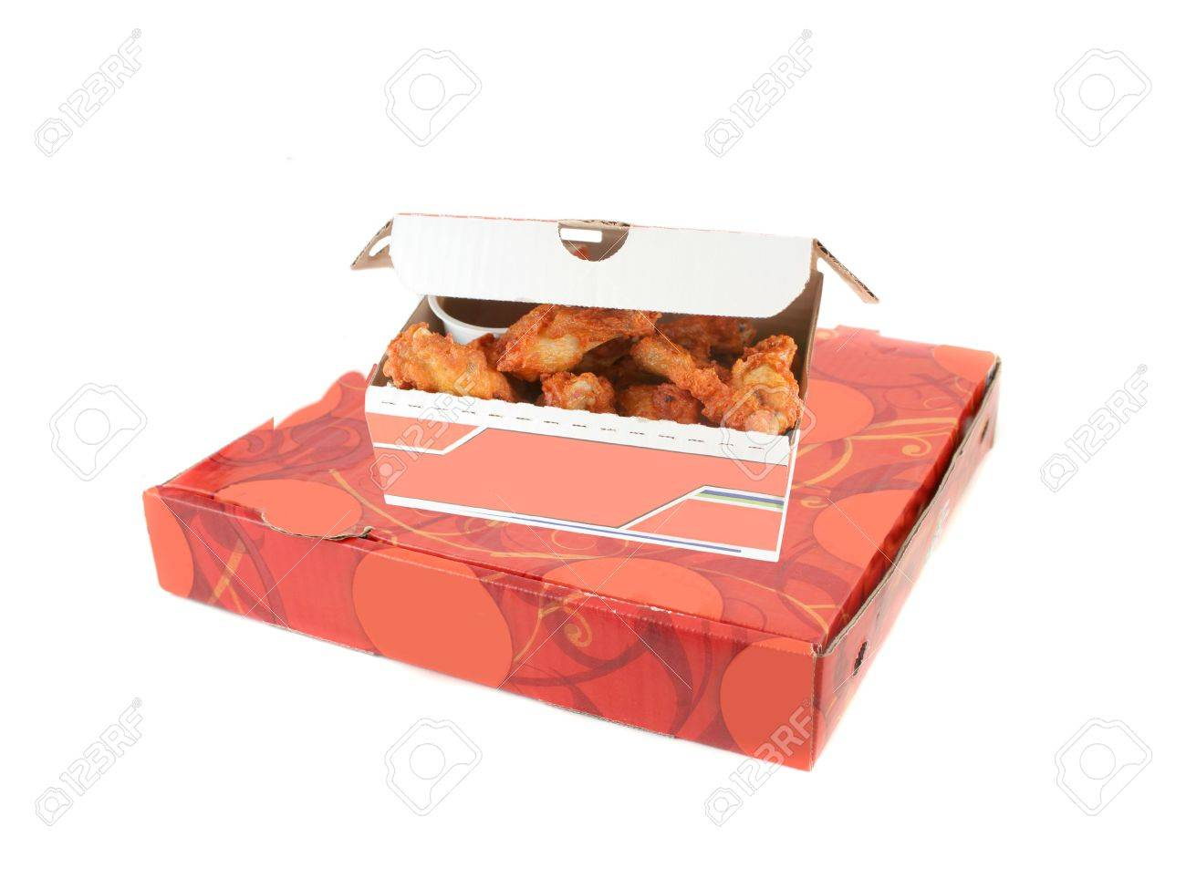 Takeout Cardboard Pizza Delivery Box And Golden Crispy Chicken ...
