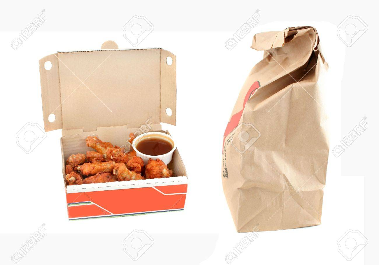 Cardboard Delivery Box With Crispy Chicken Wings And Honey Garlic ...