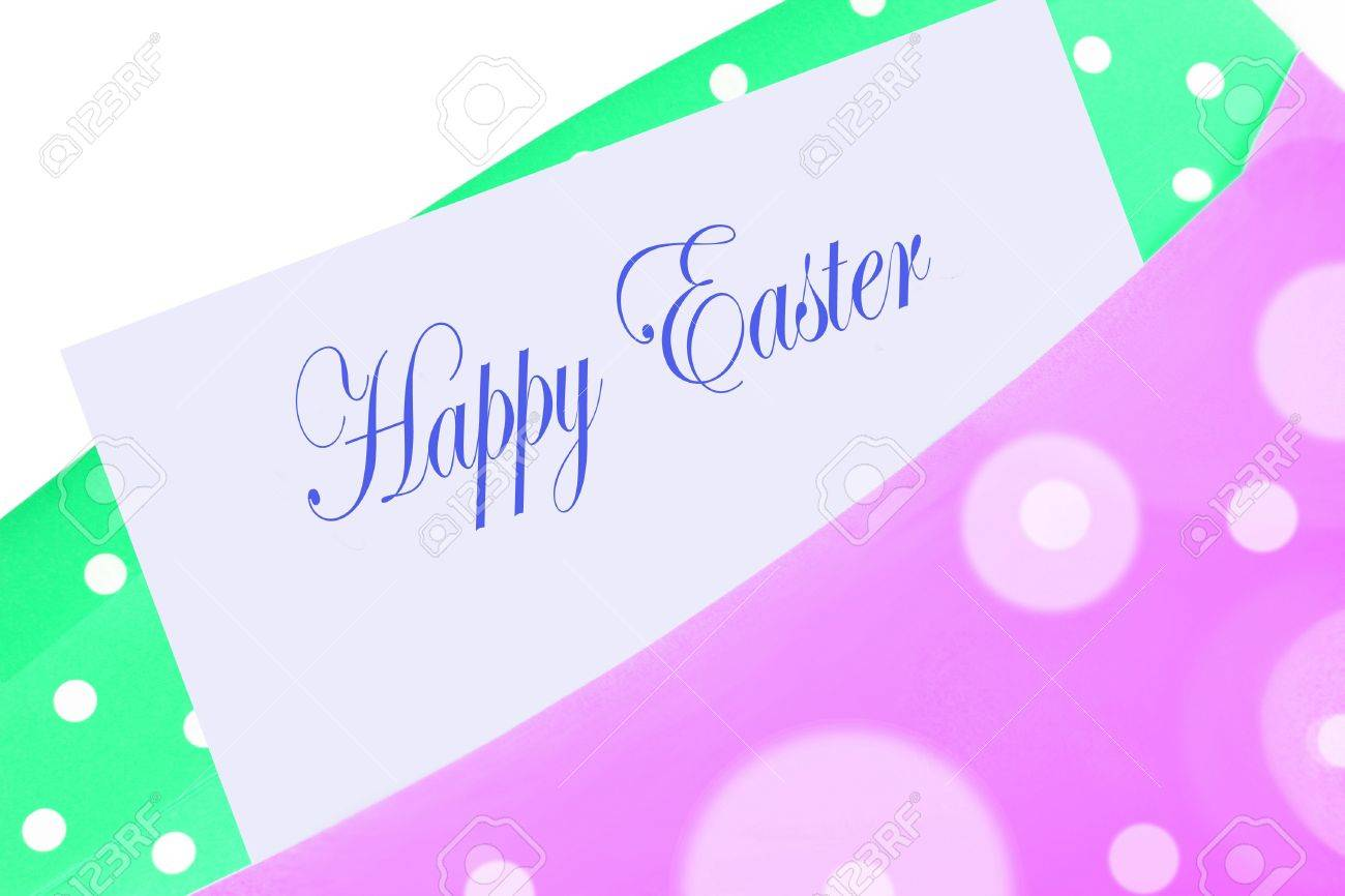 Happy easter greeting card note or letter in pink and green happy easter greeting card note or letter in pink and green polkadot envelope stock photo kristyandbryce Choice Image